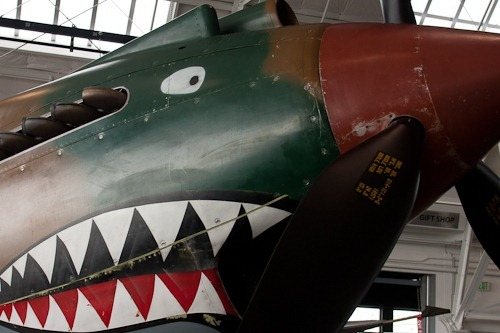 Nose of a P-40 Tomahawk with the Flying Tigers shark face