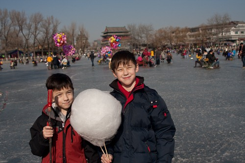 Michael and Andrew with a huge cotton candy on the ice.